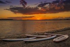 Por do sol do porto de Poole Foto de Stock
