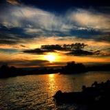 Por do sol do rio Fotos de Stock