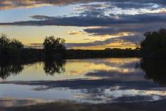 Por do sol do rio Fotos de Stock Royalty Free
