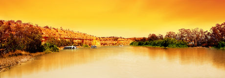 Por do sol do rio de Murray panorâmico Fotos de Stock Royalty Free