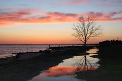 Por do sol do rio de Nanticoke Imagem de Stock