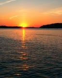 Por do sol do rio Mississípi Imagens de Stock