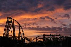 Por do sol do roller coaster Imagem de Stock