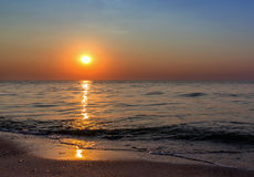 Por do sol do Seascape Fotos de Stock Royalty Free