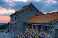 Por do sol do templo Foto de Stock