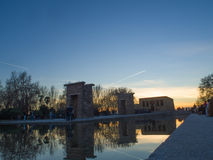 Por do sol do templo de Debod Imagem de Stock Royalty Free