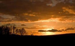 Por do sol do vale de Cuckmere Imagem de Stock Royalty Free