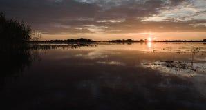 por do sol do verão no lago após a chuva Imagens de Stock