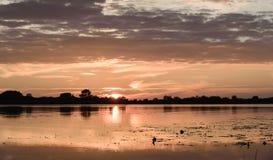 por do sol do verão no lago após a chuva Imagens de Stock Royalty Free