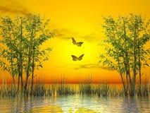 Por do sol dos bambus - 3D rendem Imagem de Stock