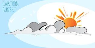 Por do sol dos desenhos animados Foto de Stock