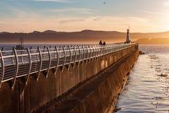 Por do sol dourado ao longo da passagem do oceano Imagens de Stock