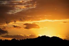 Por do sol dourado com as nuvens douradas as mais forrest da silhueta Fotografia de Stock Royalty Free