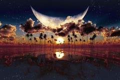 Por do sol dramático ilustração do vetor