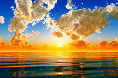 Por do sol dramático ilustração royalty free