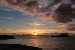 Por do sol dramático do inverno no mediterrâneo Imagens de Stock Royalty Free