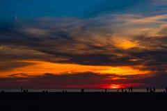 Por do sol dramático do Lago Erie Foto de Stock