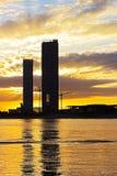 Por do sol dramático sobre arranha-céus na cidade de Miami, Florida EUA Fotografia de Stock Royalty Free