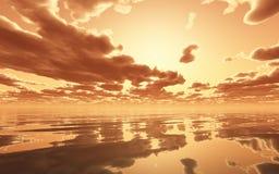 Por do sol dramático sobre o oceano ilustração stock