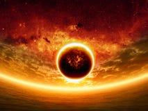 Por do sol dramático Fotografia de Stock