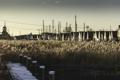 Por do sol Durgerdam 2016 imagens de stock