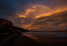 Por do sol e arco-íris Imagem de Stock Royalty Free