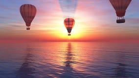 Por do sol e balão de ar quente Imagens de Stock Royalty Free