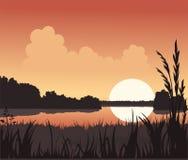 Por do sol e lago ilustração stock