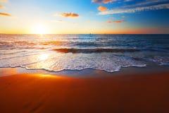 Por do sol e mar Foto de Stock Royalty Free