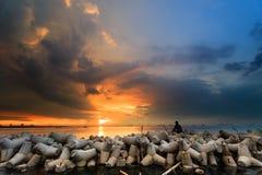 Por do sol e nascer do sol bonitos Foto de Stock