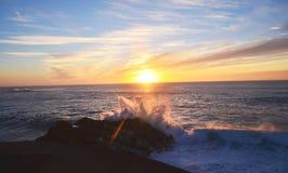 Por do sol, EL Golfo, Lanzarote, Espanha Foto de Stock Royalty Free