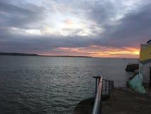 Por do sol em Aberdovey foto de stock royalty free