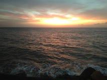 Por do sol em Aguada Puerto Rico Beach imagens de stock