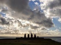 Por do sol em Ahu Tahai Imagem de Stock