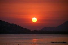 Por do sol em Alanya Foto de Stock