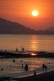 Por do sol em Alanya Imagens de Stock