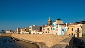 Por do sol em Alghero em Sardinia fotografia de stock royalty free