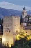 Por do sol em Alhambra Foto de Stock