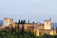 Por do sol em Alhambra Fotos de Stock Royalty Free
