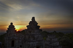 Por do sol em Angkor Wat Fotografia de Stock
