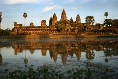 Por do sol em Angkor Wat Imagens de Stock Royalty Free