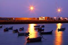 Por do sol em Asilah Fotos de Stock Royalty Free