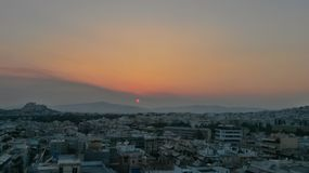 Por do sol em Atenas Fotos de Stock Royalty Free