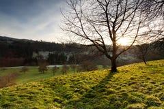 Por do sol em baixas montanhas Fotografia de Stock