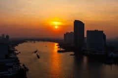 Por do sol em Banguecoque Foto de Stock Royalty Free