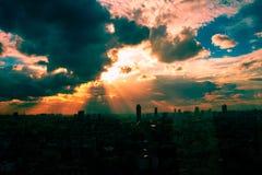 Por do sol em Banguecoque Imagem de Stock
