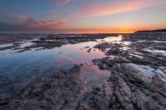 Por do sol em Barneville-Carteret Normandy França no verão Foto de Stock