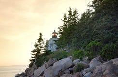 Por do sol em Bass Harbor Lighthouse Imagem de Stock Royalty Free