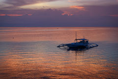 Por do sol em Bohol, Filipinas Fotografia de Stock