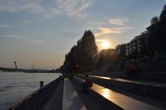 Por do sol em Bratislava Foto de Stock